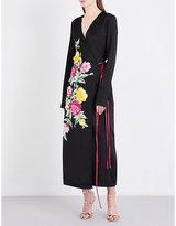 ATTICO Ladies Black Printed Floral-Print Satin Wrap Dress
