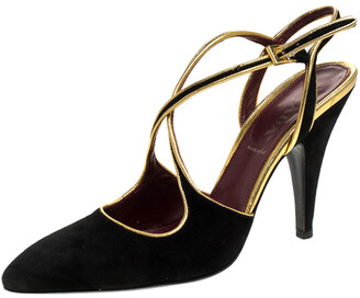 Prada Black Suede And Gold Leather Trim Ankle Strap Sandals Size 36