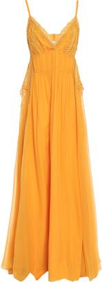 Alberta Ferretti Crochet-trimmed Silk-georgette Maxi Dress