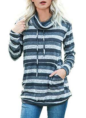 Actloe Women Cowl Neck Striped Color Block Long Sleeve Drawstring Pullover Tops Casual Sweatshirt with Pocket
