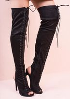 Missy Empire Mayya Black Suede Lace Up Thigh Heeled Boots