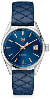 Tag Heuer Carrera 36MM Stainless Steel, Rose Gold & Blue Quilted Leather Strap Quartz Watch