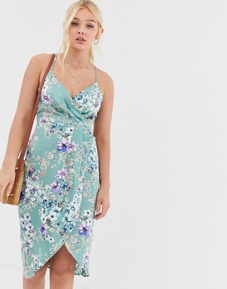 Qed London QED London wrap front slip dress in mint floral-Green