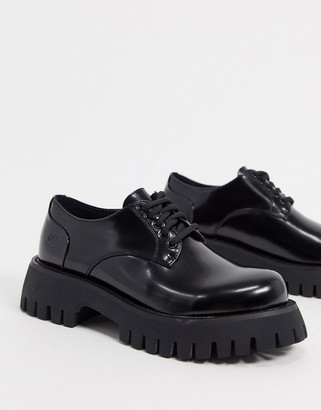 Koi Footwear Eagle vegan chunky lace up shoes in black