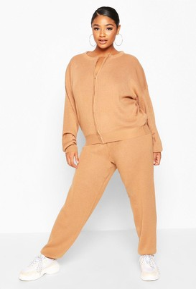 boohoo Plus Zip Through Knitted Lounge Set