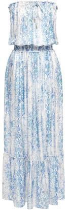 Melissa Odabash Rachel Strapless Snake-print Satin Maxi Dress
