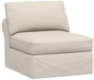 Pottery Barn PB Air Slipcovered Armless Chair, Deluxe Down Blend-Performance Slub Tweed Pebble