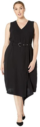 Vince Camuto Plus Size Sleeveless Matte Crepe Belted Dress (Rich Black) Women's Dress