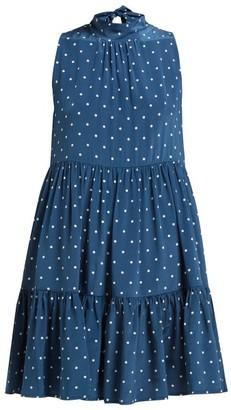 Asceno - Polka Dot-print Tie-neck Silk Dress - Womens - Navy