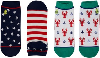 Woven Pear American Flag and Crack Me Up AnkleSocks, Set of 2