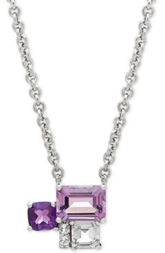 "Macy's Multi-Gemstone (1-1/2 ct. t.w.) & Diamond Accent 17"" Pendant Necklace in Sterling Silver"