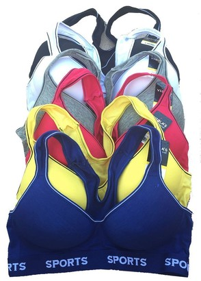 Viola's Secret Women's Cotton Sports Bra Black/White/Red/Yellow/Blue 36B 6 Piece