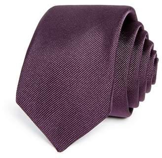BOSS Textured Diagonal Solid Silk Skinny Tie