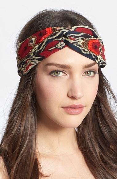 Tasha Ikat Print Faux Turban Head Wrap