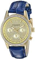 Akribos XXIV Women's AK871BU Crystal Accented Two Time Zone Pave Dial Gold Tone and Blue Leather Strap Watch
