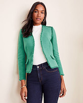 Ann Taylor Petite Fringe Tweed Cardigan Jacket