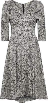 Masscob Lorimer Ruffle-trimmed Floral-print Silk-crepe Dress