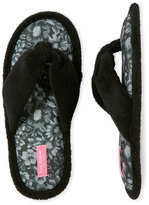 Isaac Mizrahi Black Floral Thong Slippers