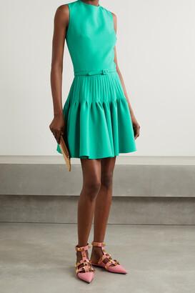 Oscar de la Renta - Belted Pleated Wool-blend Mini Dress - Green