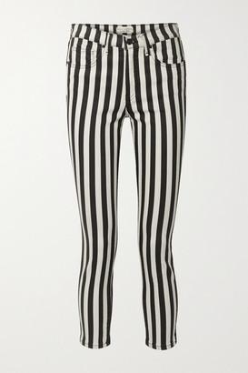 Nili Lotan Cropped Striped High-rise Skinny Jeans - Black