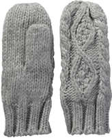 Joe Fresh Kid Girls' Cable Knit Mitts, Grey (Size L/XL)