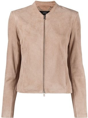 Arma Collarless Leather Jacket