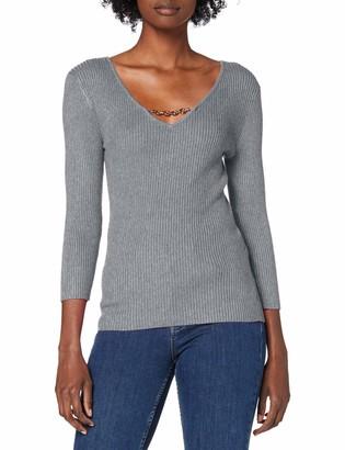 Morgan Women's Pull Fin Col V Chaine Malte Sweater