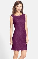 Adrianna Papell Women's Boatneck Lace Sheath Dress