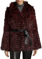 Gorski Belted Fox-Fur Hooded Parka Coat, Wine