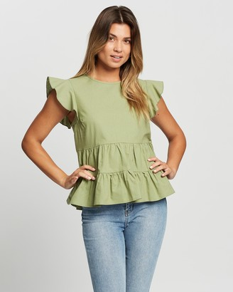 Atmos & Here Atmos&Here - Women's Green Sleeveless Tops - Danica Tiered Top - Size 6 at The Iconic