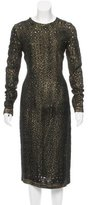 Bottega Veneta Perforated Metallic Dress