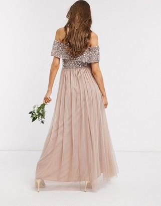 Maya Maternity Bridesmaid bardot maxi tulle dress with tonal delicate sequins in taupe blush