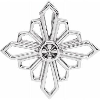 Diamond2deal 14K White Gold 19.36x19.36 mm Vintage-Inspired Geometric Pendant