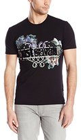 Just Cavalli Men's Flocked Logo Tee with Floral Snake Print