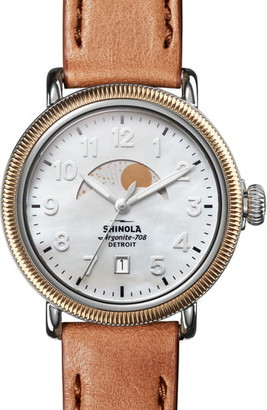 Shinola The Runwell Moon Phase Leather Strap Watch, 38mm