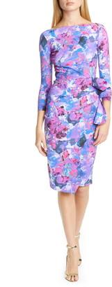 Chiara Boni Zelma Side Ruffle Floral Print Cocktail Dress