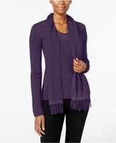 Karen Scott Luxsoft Embellished V-Neck Sweater with Scarf, Only at Macy's