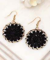 Aili's Corner Women's Earrings Black - Black & Goldtone Floral Crochet Drop Earrings