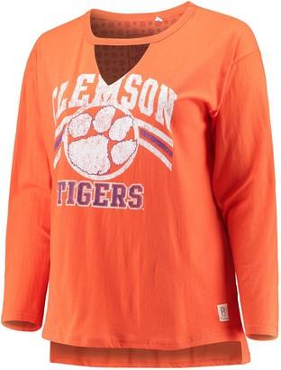Women's Pressbox Orange Clemson Tigers Plus Size Scout Choker T-Shirt