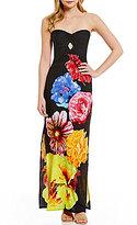 Moa Moa Floral Strapless Maxi Dress