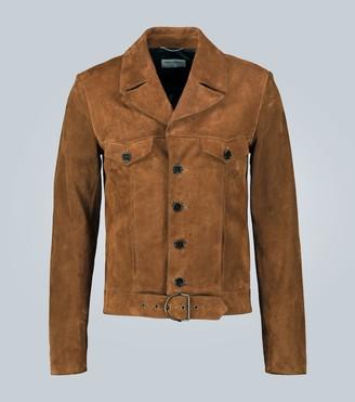Saint Laurent Belted suede leather jacket
