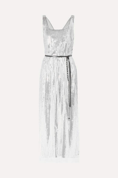 Marc Jacobs Sequined Silk-crepe Midi Dress - Silver