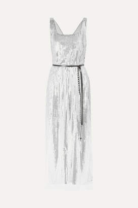 Marc Jacobs Runway Sequined Silk-crepe Midi Dress - Silver