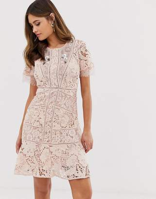 French Connection Chante lace embellished lace mini dress-Pink