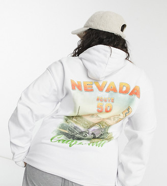 In The Style Plus motif slogan hooded sweat top in white