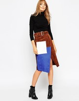 Asos Suede Wrap Pencil Skirt in Color Block