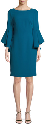Badgley Mischka Bateau-Neck Dress w/ Trumpet Sleeves