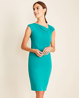 Ann Taylor Tall Fold Neck Sheath Dress