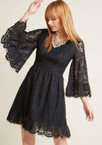 Bell Sleeve Lace Dress in Black in L - A-line Mini by ModCloth