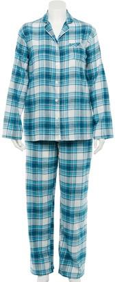Croft & Barrow Plus Size Flannel Long Sleeve Pajama Shirt & Pajama Pants Set